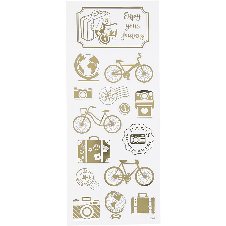 Korting Creotime Stickers Om De Wereld Goud 10 X 24 Cm 15 delig