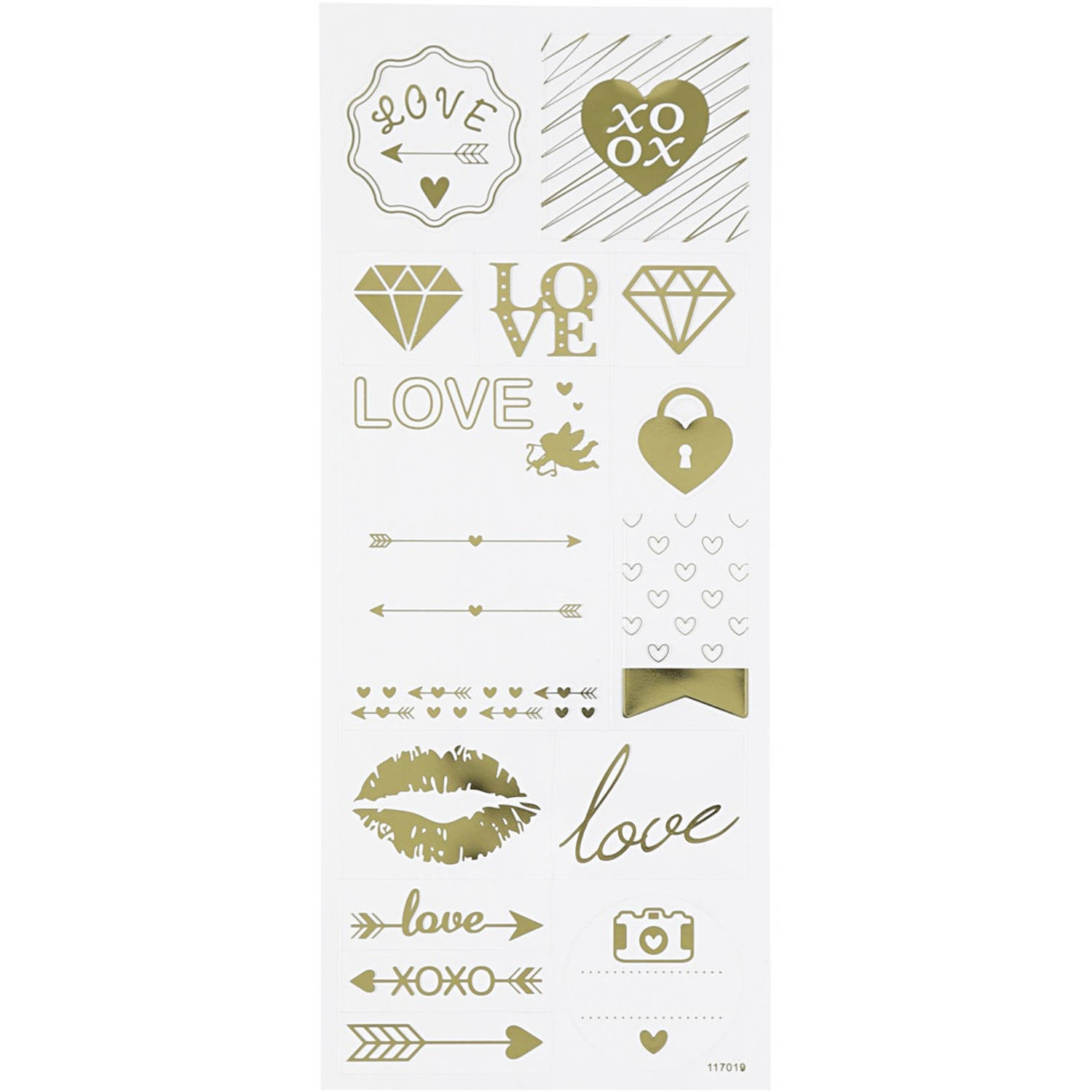 Korting Creotime Stickers Love Goud 10 X 24 Cm 14 delig