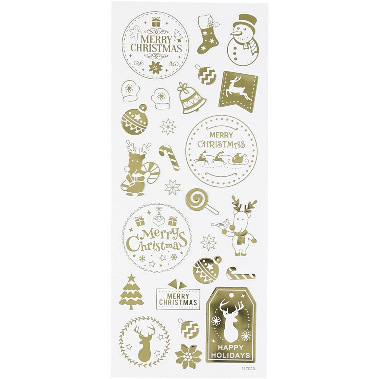 Korting Creotime Stickers Kerst Goud 10 X 24 Cm 26 delig