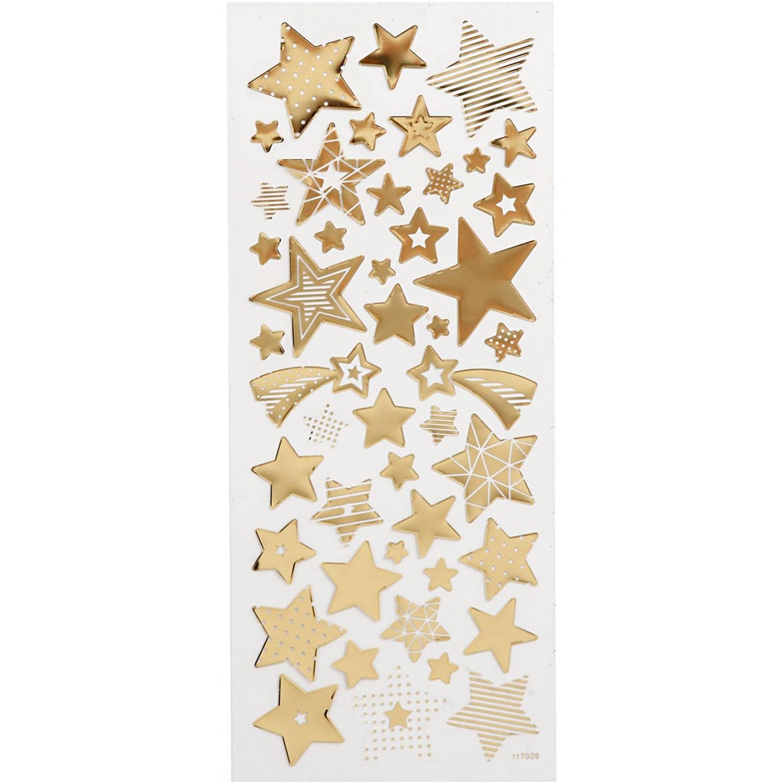Korting Creotime Stickers Kerststerren Goud 10 X 24 Cm 52 delig