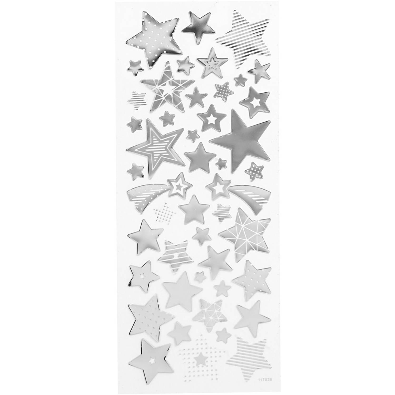 Korting Creotime Stickers Kerststerren Zilver 10 X 24 Cm 52 delig