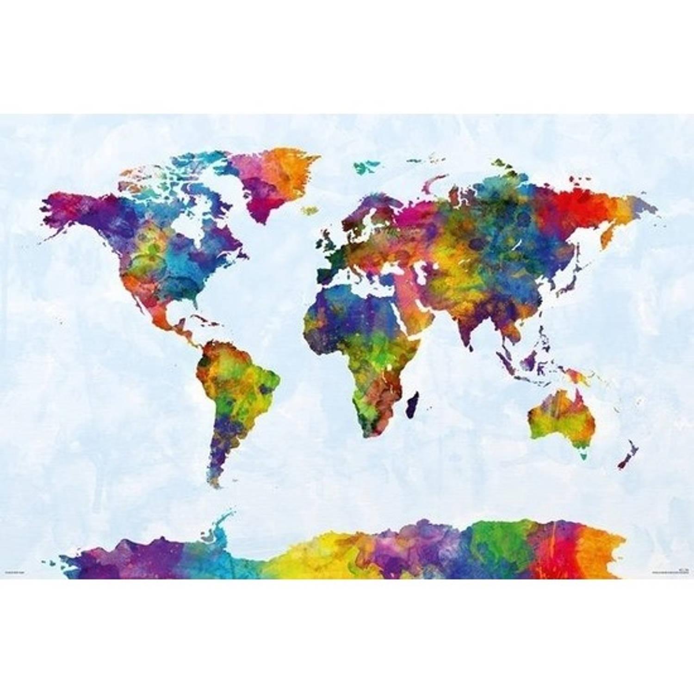 Poster Wereldkaart Gekleurd 61 X 91 Cm - Wereld Thema Posters - Wanddecoratie/muurdecoratie Poster