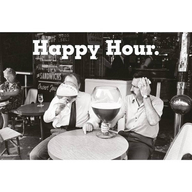 Drank/kroeg Poster Happy Hour Zwart/wit 61 X 91 Cm - Feest Thema Posters - Wanddecoratie/muurdecorat
