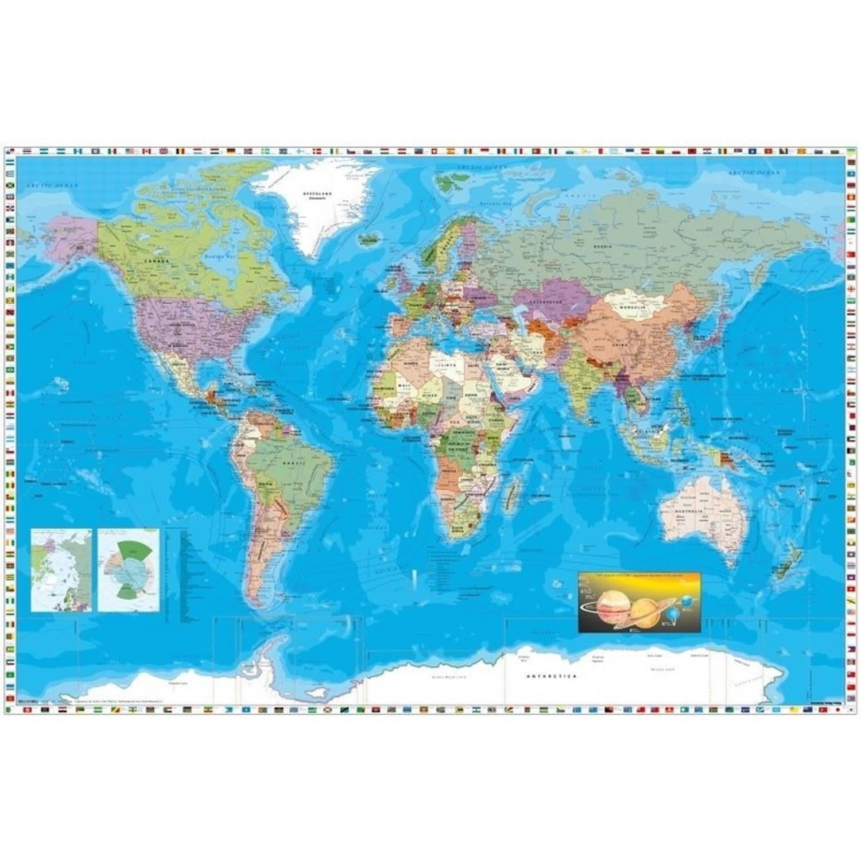 Poster Wereldkaart/map Kaart 61 X 91 Cm - Reizen/wanderlust Thema Posters - Wanddecoratie/muurdecora