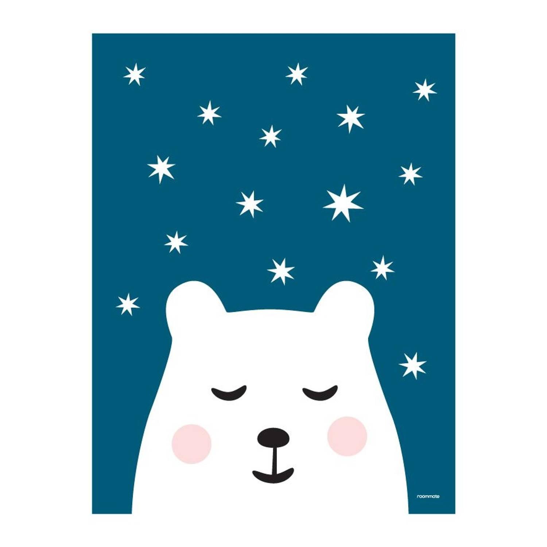 Roommate Poster Ijsbeer 30 X 40 Cm Blauw/wit