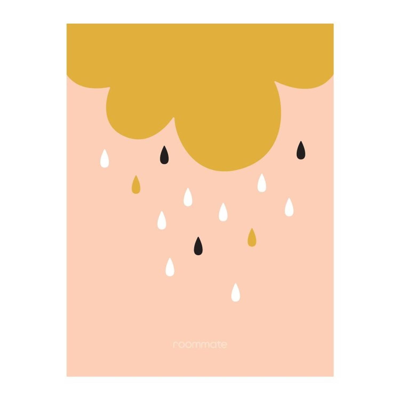Roommate Poster Golden Rain 30 X 40 Cm Goud/roze