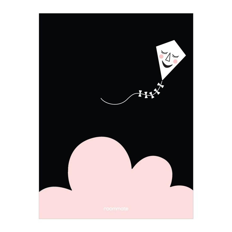 Roommate Poster Kite In The Night 30 X 40 Cm Zwart/roze