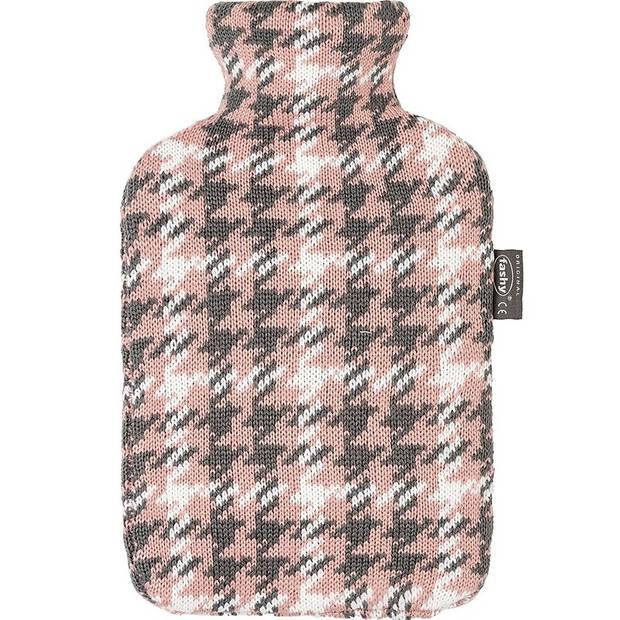 Grijze/roze/witte kruik met Pied-de-poule patroon 2 liter - Gebreide hoes - Warmwaterkruik met pluche hoes/kruikenzak