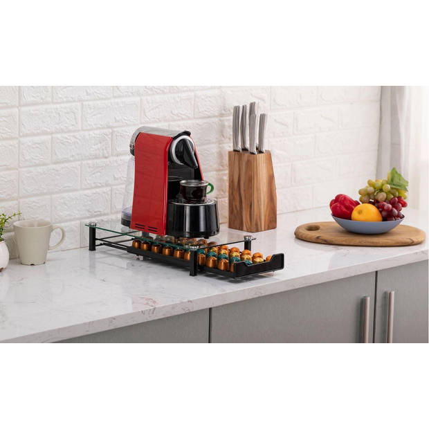 4cookz nespresso capsulehouder 40 - glazen cuphouder - 40 cups
