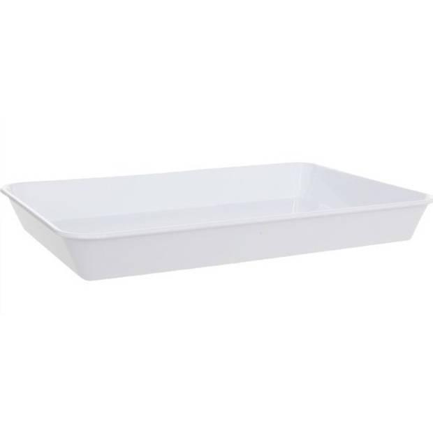 Diep dienblad wit kunststof 35 x 24 x 4 cm - Horeca serveerbladen