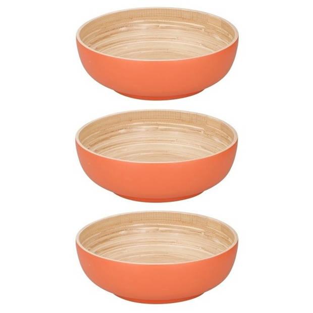 3x Bamboe serveerschalen oranje 25 cm - Saladeschaal - Slakom - Slaschaal - Slabak - Bamboe servies