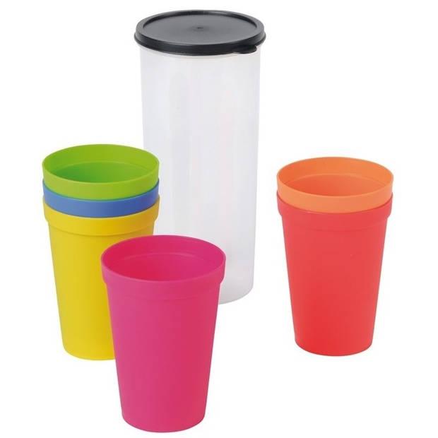 Kunststof limonade drinkbekers gekleurd 6 stuks - Kunstof bekers/glazen setje - Handige picknick bekers
