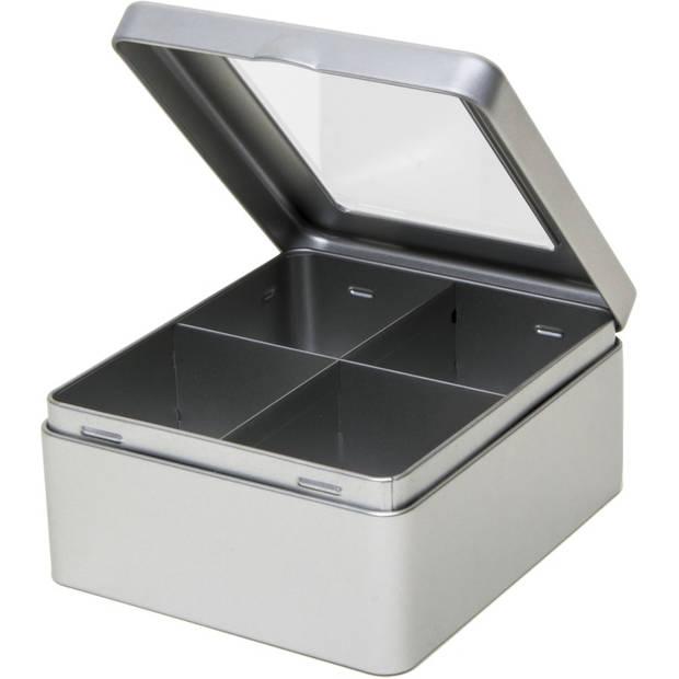 Zilveren 4-vaks theedoos/theekist 15 cm met venster - Keuken accessoires - Theezakjes houder bewaarblik