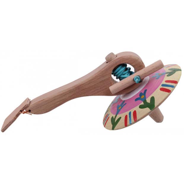 Mamatoyz spinningtol hout 16 cm crème/roze