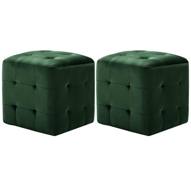 vidaXL Poef 2 st 30x30x30 cm fluweel groen