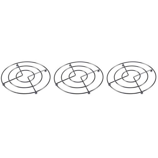 3x Pannen onderzetters chroom 17 cm - Metalen onderzetters voor pannen