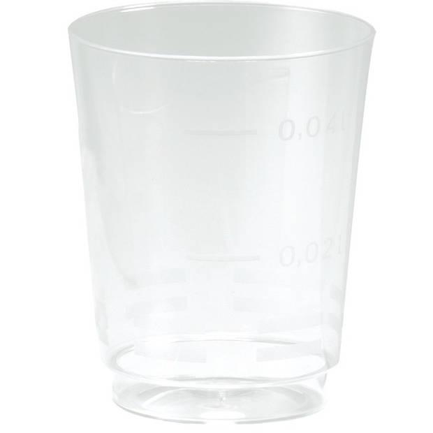 25x Plastic shotglazen/borrelglazen transparant/doorzichtig 49 ml - Voordelige wegwerp borrelglaasjes/shotjes glazen