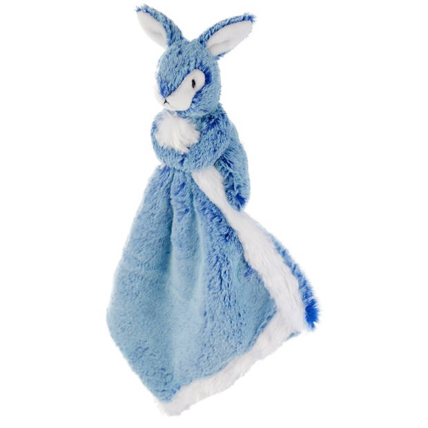 Blauw konijn/haas tuttel/knuffeldoekje 25 cm - Konijnen/hazen bosdieren knuffels - Baby geboorte kraamcadeaus