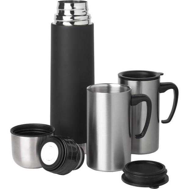 RVS thermosfles/isoleerkan 0.5 liter set met 2 thermosbekers - Thermoskan/warmhoudkan reisset inclusief tas