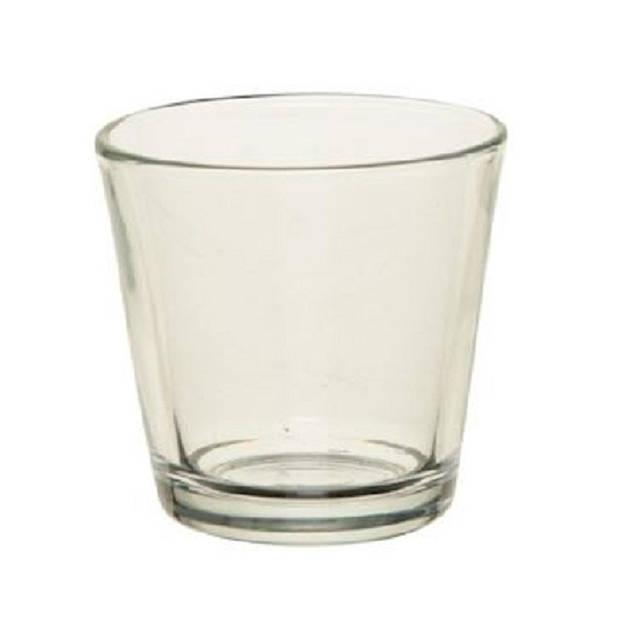 6x Theelichthouders/waxinelichthouders transparant glas 7 cm - Glazen kaarsenhouder voor waxinelichtjes 6 stuks