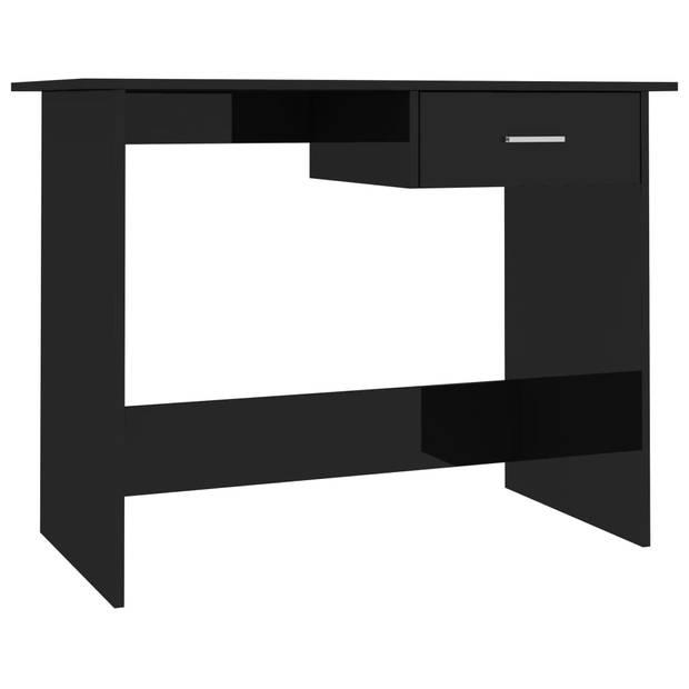 vidaXL Bureau 100x50x76 cm spaanplaat hoogglans zwart