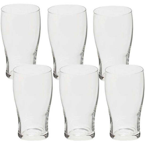 Voordelige bierglazen set van 300 ml 6 stuks - Bierglas/bierglazen