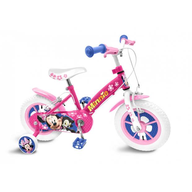 Disney Minnie Mouse Meisjesfiets 12 Inch 21,5 cm Meisjes Knijprem Roze