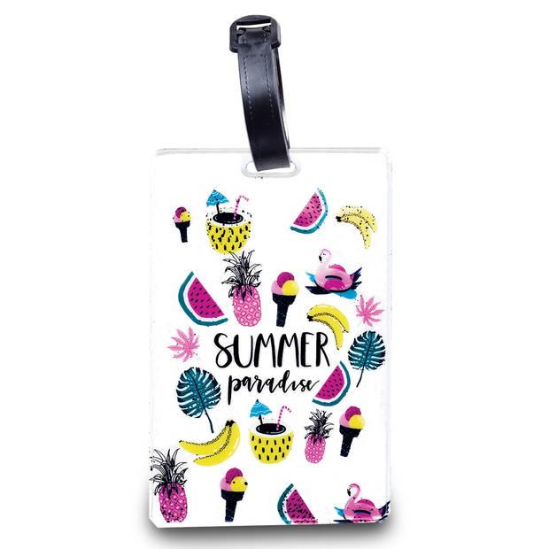 Worldpack bagagelabel Summer Paradise 11 cm wit/multicolor