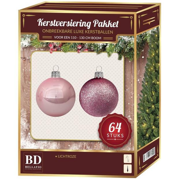 Kerstballen set 64-delig voor 120 cm boom - Lichtroze tinten Kerstboomversiering