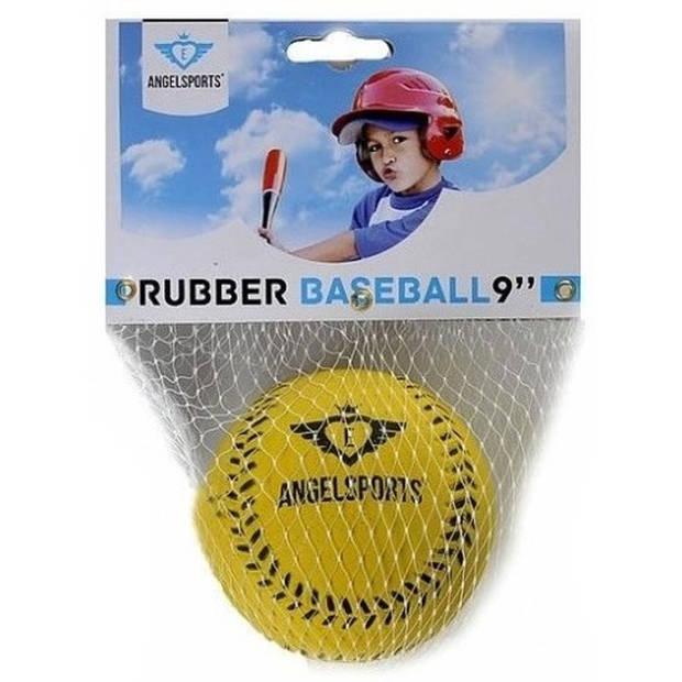 Rubberen honkbal geel 7 cm - Honkbalsets