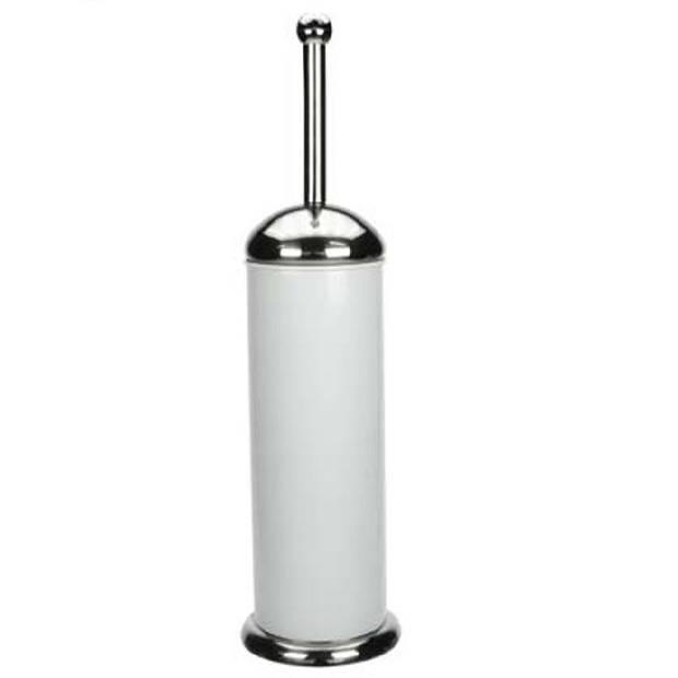 Toiletborstel houder RVS wit 40 cm - Toiletborstelhouders/wc-borstelhouders voor toilet - Badkamer artikelen