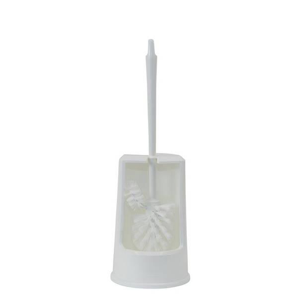 Witte toiletborstel inclusief toiletborstelhouder - wc borstel met randreiniger - schoonmaakaccessoires - wc / sanitair
