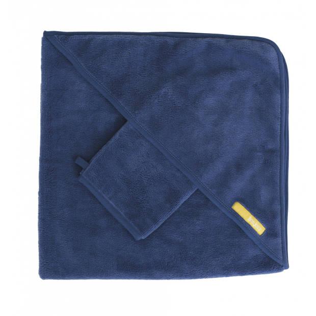 Pericles badcape met washandje bamboe 75 cm blauw