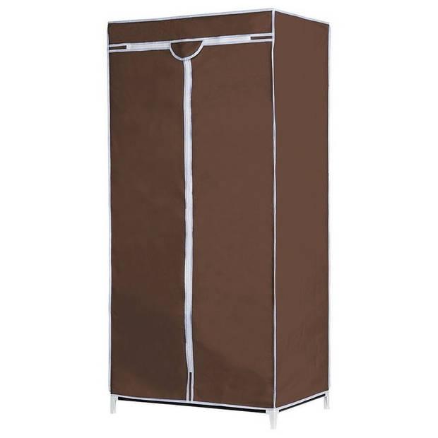 Mobiele opvouwbare kledingkast/garderobekast 160 cm bruine hoes - Camping/zolder kasten - Opvouwbare kasten