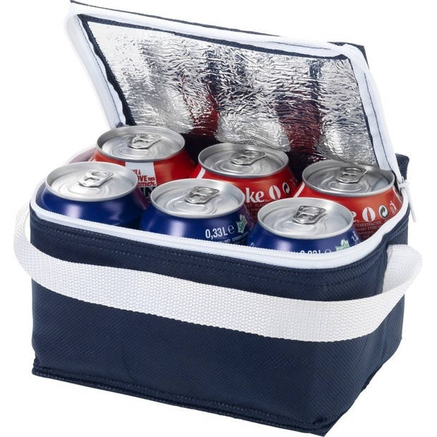 Kleine koeltas navy/wit 20 cm voor 6/sixpack blikjes - 3,5 liter - Koelboxen/koeltassen - Lunchtrommel