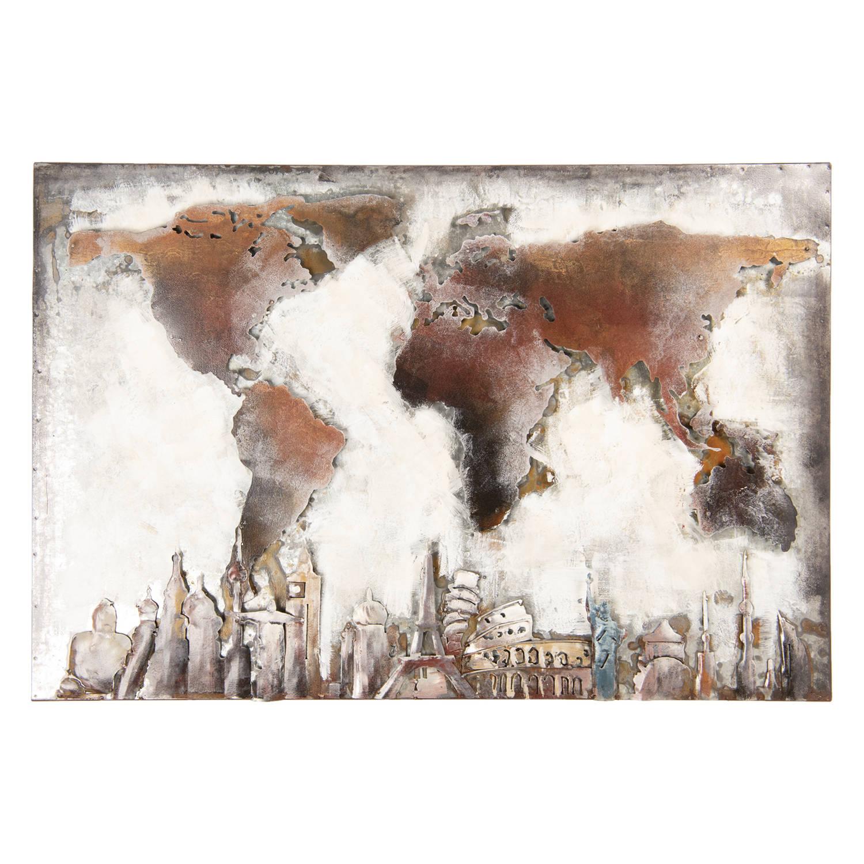 Clayre & Eef Wanddecoratie Wereldkaart 90x60x4 Cm