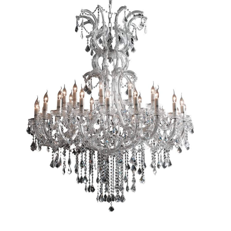 Clayre & Eef Kristallamp met chroom 30-lichts 150-200xØ120cm 30x E14-40w
