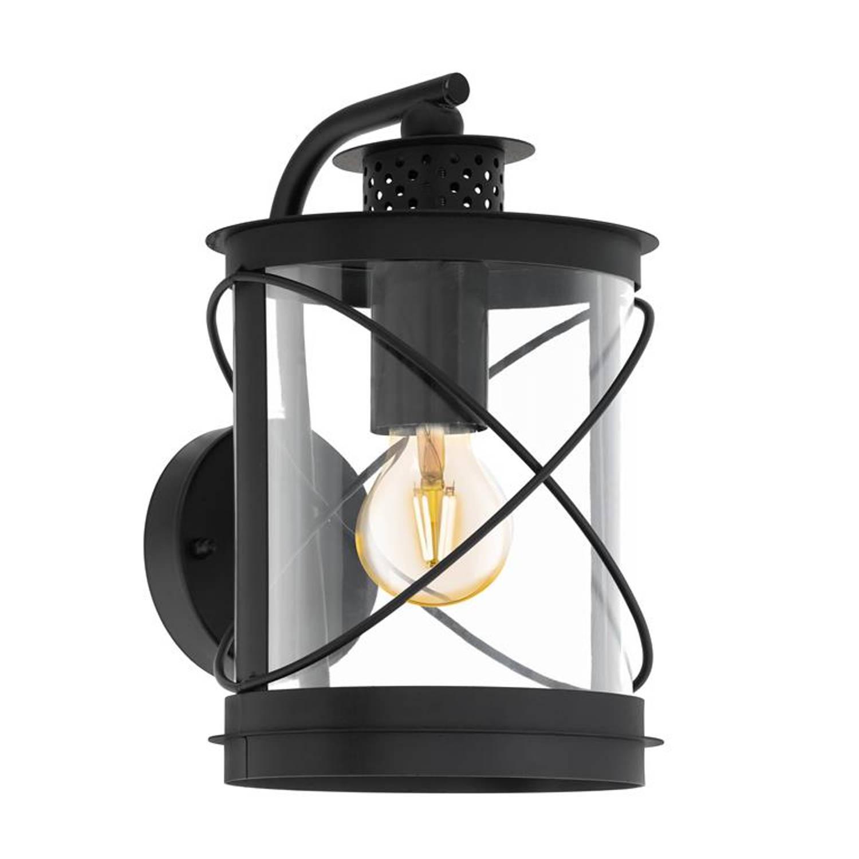 Eglo - Wandlamp - Hilburn - Zwart - Transparant