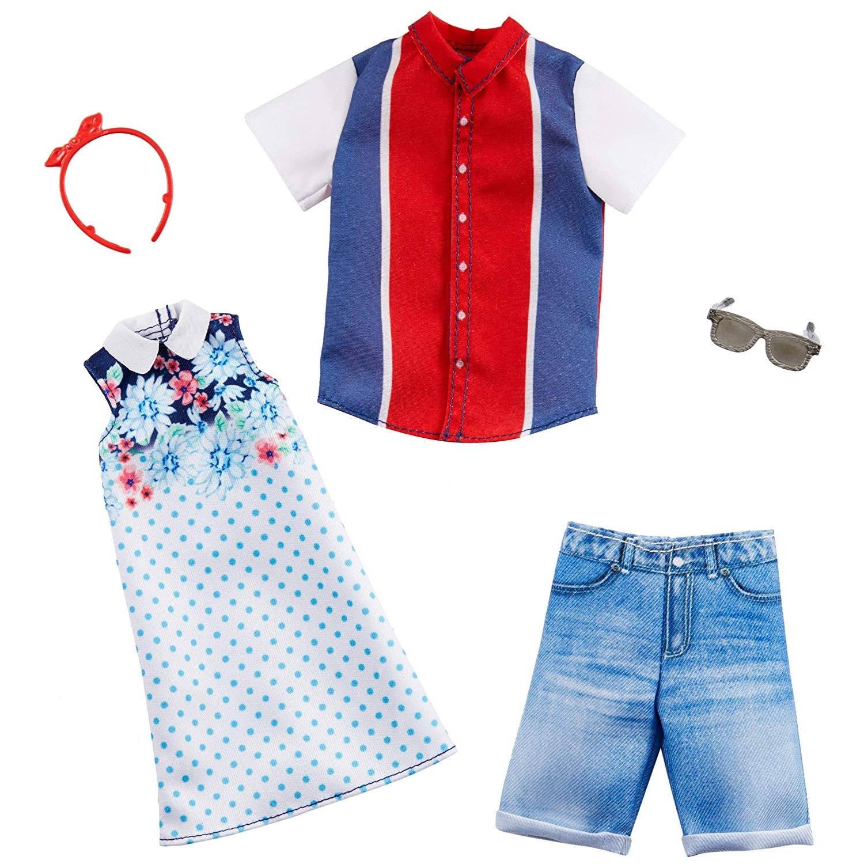 Barbie & Ken Fashions Outfit 2-pack Rood, Wit en Blauw - Barbiepop
