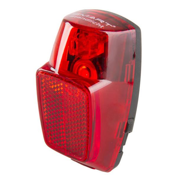 Smart achterlicht dynamo met condensator led rood/zwart
