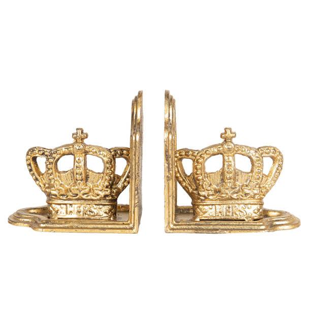 Boekensteun (set van 2) - 12*7*12 cm - goudkleurig - ijzer - kroon - Clayre & Eef - 6Y3478