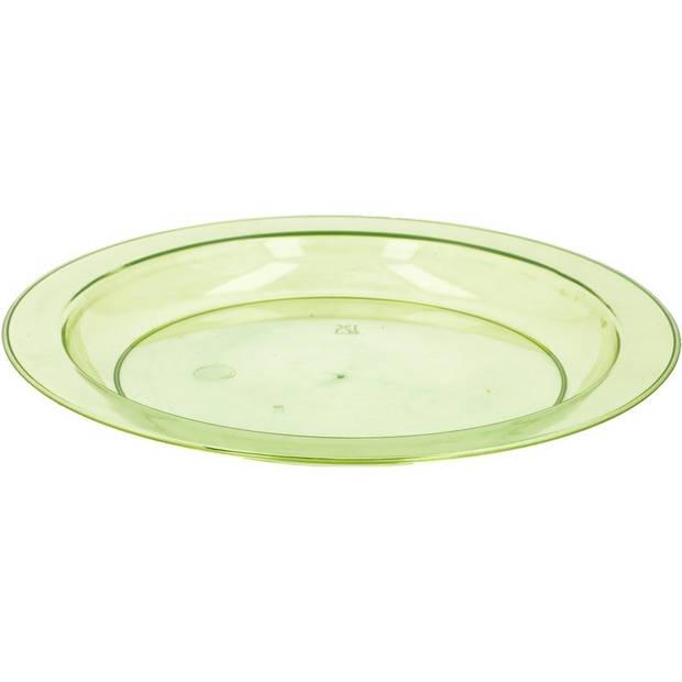 6x Groen plastic borden/bordjes 20 cm - Kunststof servies - Koken en tafelen - Camping servies - Ontbijtbordje kinderen