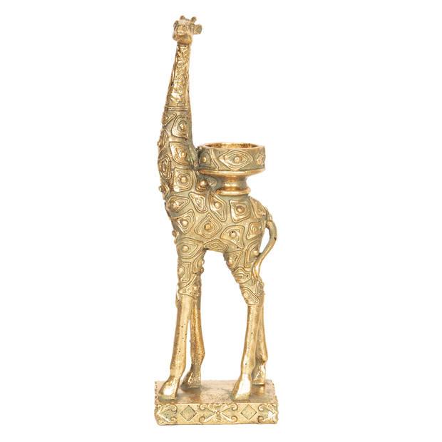 Decoratie giraf / waxinelichthouder - 10*8*33 cm - goudkleurig - kunststof - giraf - Clayre & Eef - 6PR2498