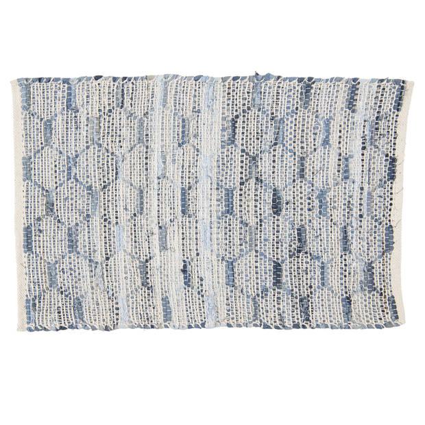 Tapijt - 60*90 cm - blauw - katoen - rechthoekig - Clayre & Eef - KT080.033