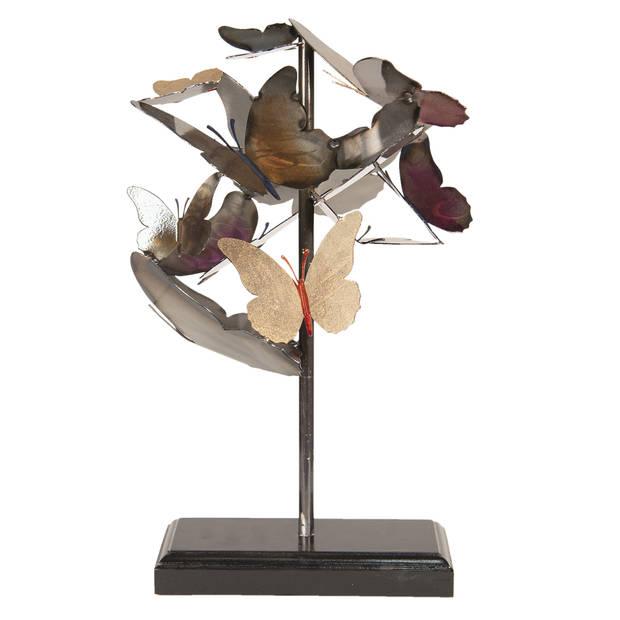 Decoratie vlinders - 28*29*45 cm - grijs - metaal - vlinders - Clayre & Eef - 5Y3471