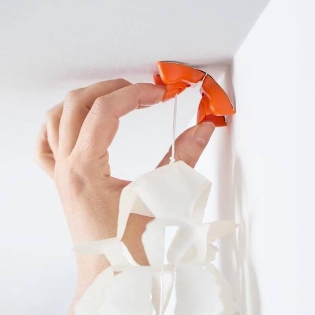 4x Slingers/decoratie ophangen slingerklemmen roze