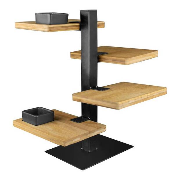 Gusta - Serveertoren zw metaal 4 bamboe planken