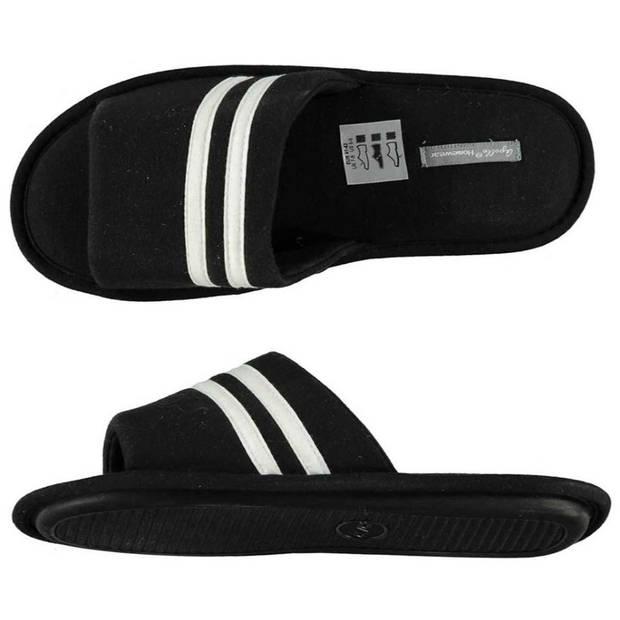 Zwarte huisslippers/instapsloffen/pantoffels witte streep voor heren - Zwarte slippers voor heren 43-44
