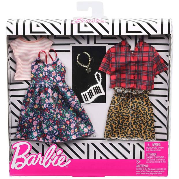 Barbie kledingset tienerpop rok en jurkje bloemen 2-delig