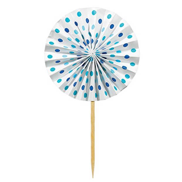 Amscan cocktailprikkers waaier papier 16 cm 12 stuks blauw